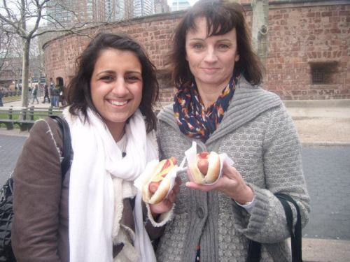 Me and Mum trying out American hot dogs