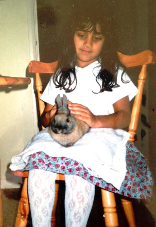 Me with Sammy the rabbit
