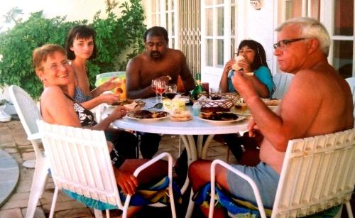 Nanny, Mum, Dad, Laura and Grandad on holiday