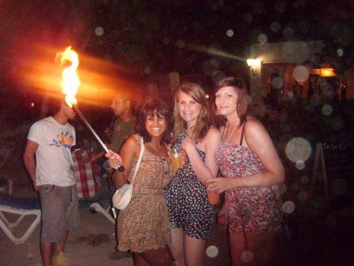 Me, Leanne and Rach at an Ibizan beach party